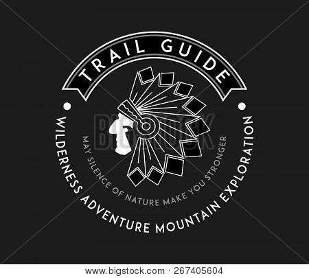 Outdoor Native Trail Guide White On Black Is A Vector Illustration About Wilderness Exploration