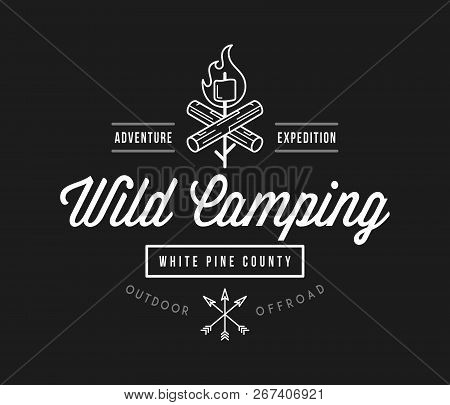 Outdoor Wild Camping White Pine County White On Black Is A Vector Illustration About Wilderness Expl