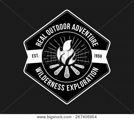 Outdoor Wilderness Exploration White On Black Is A Vector Illustration About Real Adventure