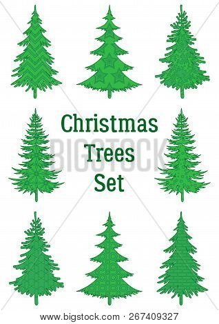 Set Of Green Holiday Christmas Trees, Winter Symbols With Patterns, Isolated On White. Vector