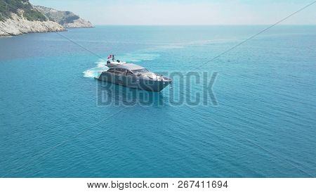 Amazing View To Yacht Sailing In Sea. Stock. Sunset View Of The Yacht. Luxury Vacation On A Yacht Wi