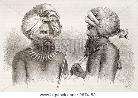 Fijians men old illustration. Viti Levu islands dwellers. Created by Fath after Calvert, published on le Tuou du Monde, Paris, 1860