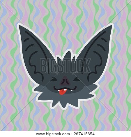Halloween Bat Smiley Head With Stuck Out Tongue And Closed Eyes. Vector Illustration Of Bat-eared Gr