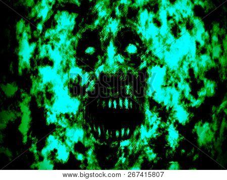 Green Burning Ghoul Face. Green Background Color. Illustration In Genre Of Horror.