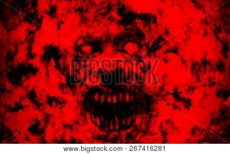 Bloody Ghoul Face. Illustration In Genre Of Horror. Red Background Color.