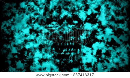 Angry Burning Ghoul Face. Illustration In Genre Of Horror. Blue Background Color.