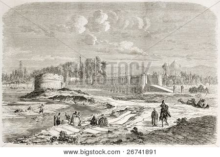 Si-o-se Pol old illustration (Bridge of 33 arches), also called Allah-Verdi-Kahn bridge, Isfahan, Persia. Created by Laurens, published on Le Tour du Monde, Paris, 1860