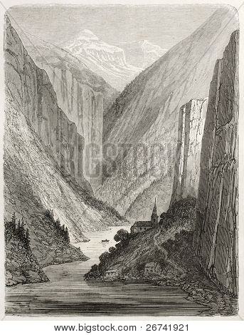 Bakke church old illustration, Norway. Created by Dore after Riant, published on Le Tour du Monde, Paris, 1860
