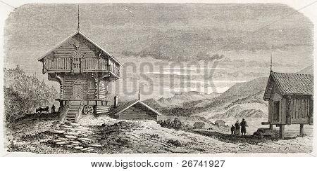 Bamble chalet old illustration,  Telmark, Norway. Created by Lancelot after Riant, published on Le Tour du Monde, Paris, 1860