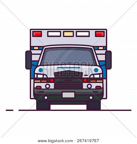 Front View Of Ambulance Car With Lights. Line Style Vector Illustration. Vehicle And Transport Banne