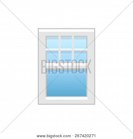 Vector illustration of vinyl single-hung sash window. Flat icon of traditional aluminum sash window with decorative bars on top panel. Isolated object on white background. poster