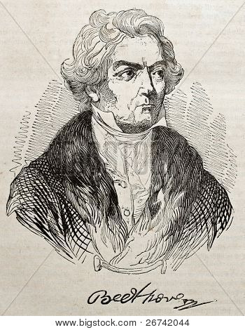 Ludwig van Beethoven old engraved portrait and autograph. By unidentified author, published on Magasin Pittoresque, Paris, 1840