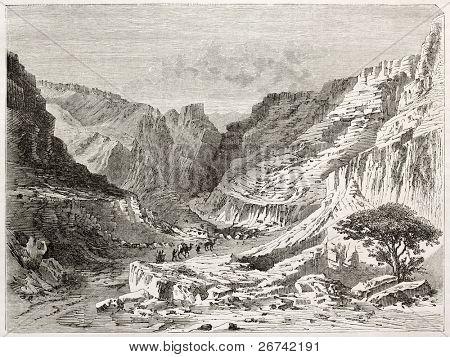 Fezzan landscape old illustration. Created by Lancelot after Barth, published on Le Tour du Monde, Paris, 1860