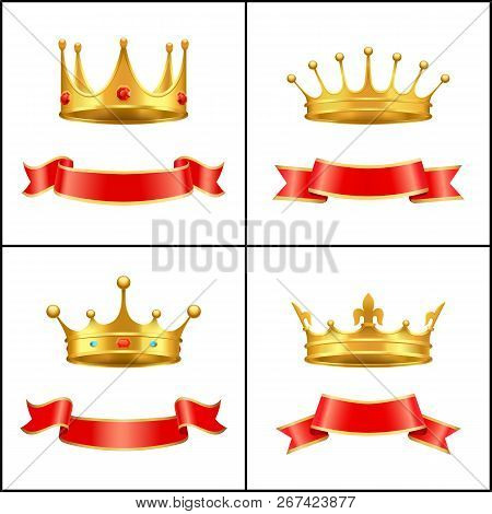 Crowns Symbol Of Regal Power And Red Banners Set. Corona With Diamonds And Gemstones. Gold Coronet D