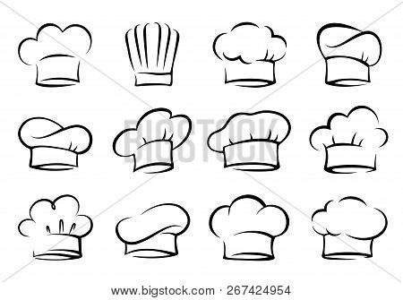 Hand Drawn Set Of Chef And Cook Hats