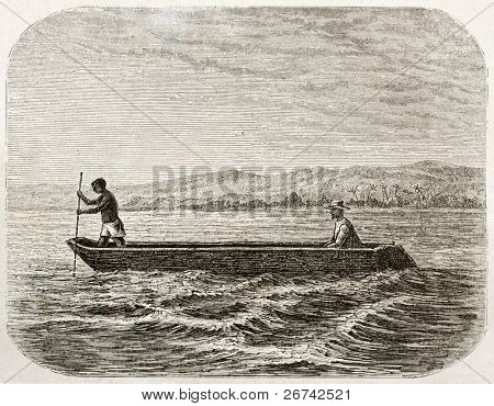 Boatman and passenger on lake Tanganyika, old illustration. Created by Lavieille after Burton, published on Le Tour du Monde, Paris, 1860