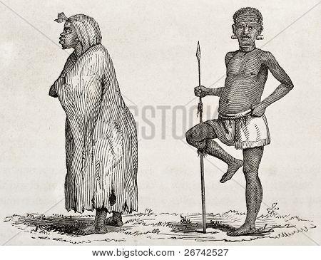 Tanganyika lake southern coast dwellers. Created by Burton, published on  Le Tour du Monde, Paris, 1860
