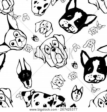 Seamless Pattern With Dog Breeds. Bulldog, Husky, Alaskan Malamute, Retriever, Doberman, Poodle, Pug