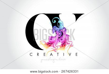Ov Vibrant Creative Leter Logo Design With Colorful Smoke Ink Flowing Vector Illustration.
