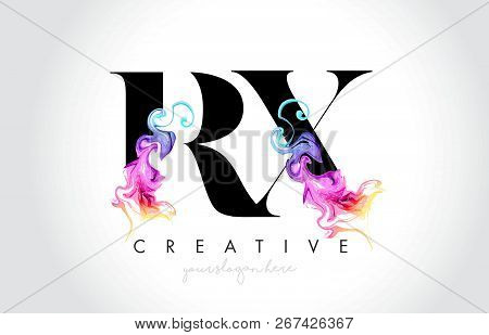 Rx Vibrant Creative Leter Logo Design With Colorful Smoke Ink Flowing Vector Illustration.