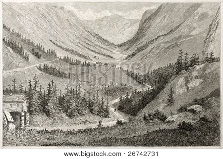 Vestfjord valley old view, Norway. Created by Dore after Riant, published on Le Tour du Monde, Paris, 1860