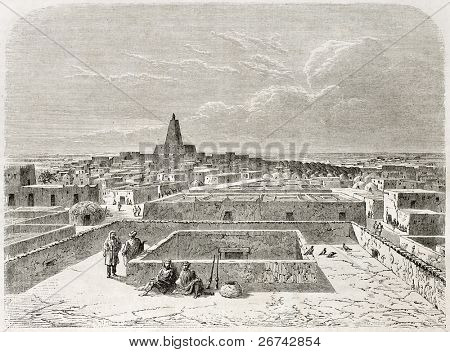 Timbuktu, old view. Created by Lancelot after Barth, published on Le Tour du Monde, Paris, 1860