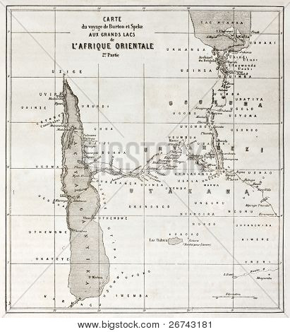 Great lakes region old map, eastern Africa. Created by Erhard, published on Le Tour du Monde, Paris, 1860.
