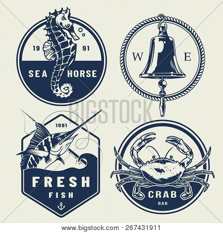 Vintage Nautical Labels Collection With Inscriptions Seahorse Ship Bell Swordfish Crab Isolated Vect