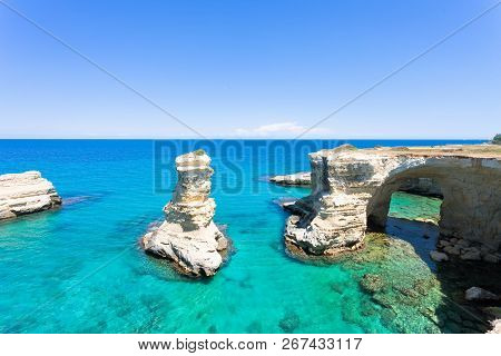 Sant Andrea, Apulia, Italy - Turquoise Water At The Rocky Cliffs Of Sant Andrea
