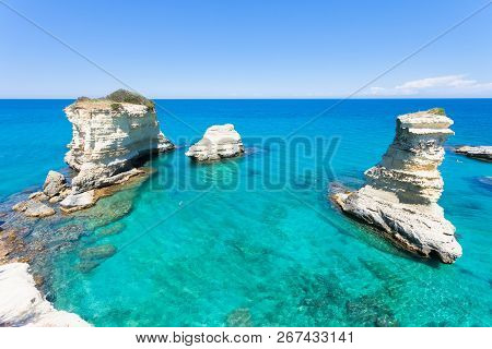 Sant Andrea, Apulia, Italy - Relaxing At The Beach Of The Famous Cliffs