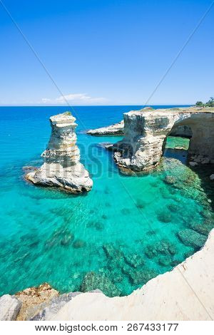Sant Andrea, Apulia, Italy - Diving Into The Mediterranean Sea From The Huge Cliffs