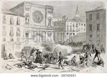 Woman (Giuseppina Bolognari) shoting cannon during Catania urban battle, old illustration. Created by Worms, published on L'Illustration, Journal Universel, Paris, 1860