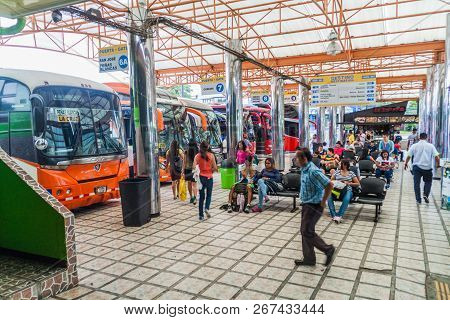 San Jose, Costa Rica - May 14, 2016: View Of Buses At Gran Terminal Del Caribe Bus Station In The Ca