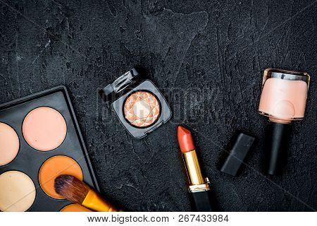 Decorative Cosmetics Nude On Dark Background Top View