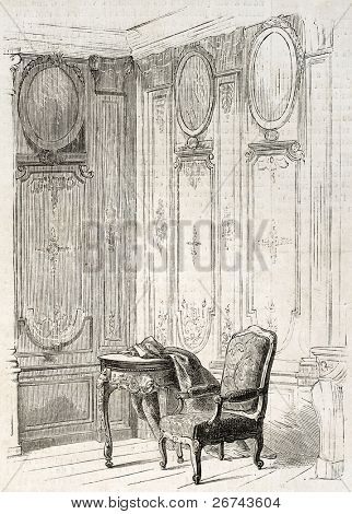 Chateau de Bercy library old illustration, France. By unidentified author, published on L'Illustration, Journal Universel, Paris, 1860