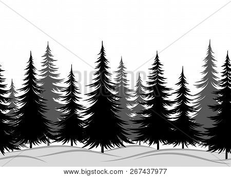 Christmas Horizontal Seamless Background, Winter Landscape With Black And Grey Fir Trees In Snow. Ve