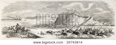 Neapolitan cavalry escape after Milazzo battle and La Veloce battleship bombing. Created by Rouargue, published on L'Illustration, Journal Universel, Paris, 1860