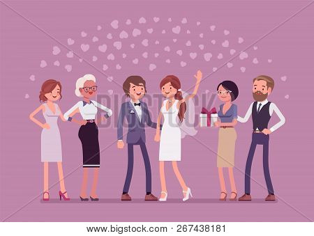Wedding Ceremony, Newlywed And Guests. Marriage Official Ceremony, Bride And Groom On Traditional Ce