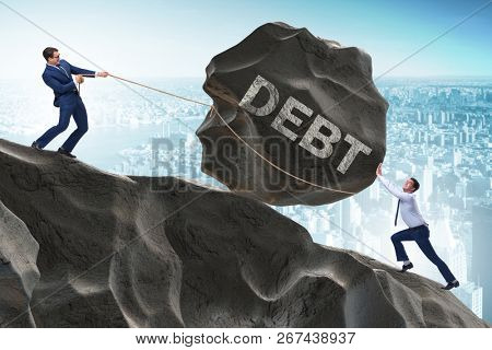 Business concept of debt and borrowing
