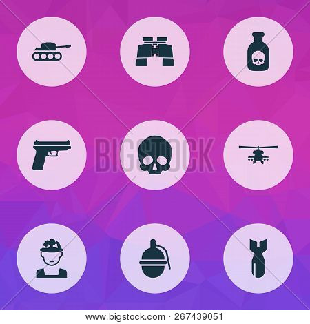 Army Icons Set With Gun, Grenade, Tank And Other Panzer Elements. Isolated  Illustration Army Icons.