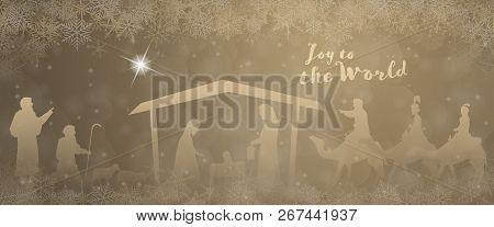 Christmas Time. Nativity Scene With Mary, Joseph, Baby Jesus, Shepherds And Three Kings In Christmas