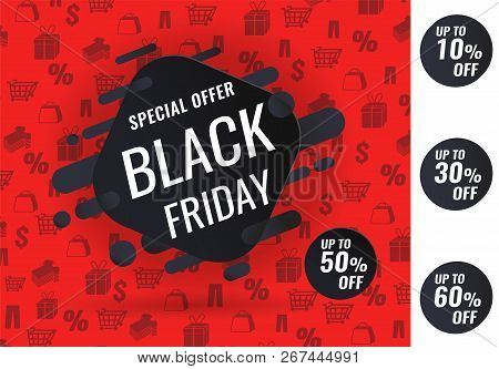 Black Friday Sale Inscription Design Template, Special Offer, Up To 10 30 50 60 Off. Vector Illustra