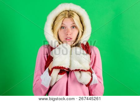 Winter Time For Cozy Warm Accessories. Lets Stay Warm In Fur Clothing. Woman Emotional Face Posing I