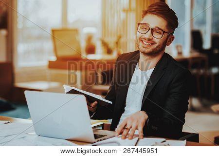 Closeup Portrait Of Businessman Working On Laptop. Copywriter Man Browsing Internet Using Portable P