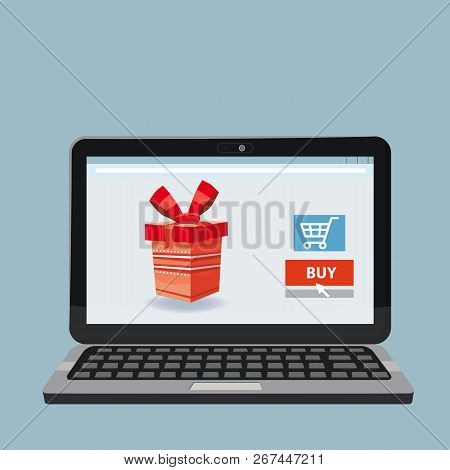 Laptop, Noteebok With Red Gift Box. Online Shopping Concept. Sale, E-commerce, Retailing, Discount T
