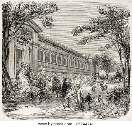 Aquarium exterior in the Jardin d'Acclimatation, Paris. Created by Provost, published on L'Illustration, Journal Universel, Paris, 1860