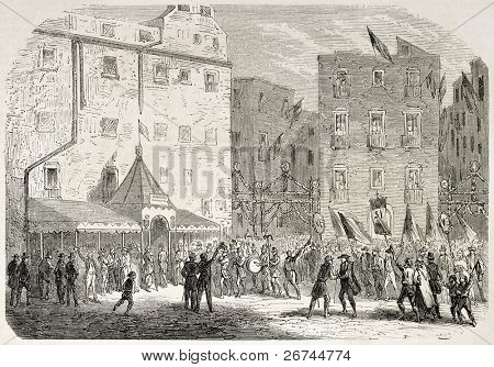 Neapolitan people coming to meeting for annexation to Italy. Created by Gaildrau, published on L'Illustration, Journal Universel, Paris, 1860