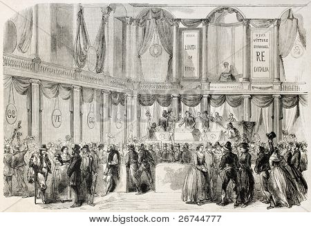 Voting annexation to Italy in Naples University hall. Created by Lhernault, published on L'Illustration, Journal Universel, Paris, 1860