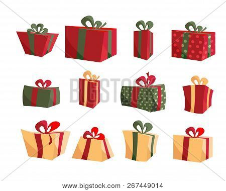 Colorful Gift Box Collections. Set Of Present Boxes Flat Vector. Happy Birthday. Merry Christmas. Gi