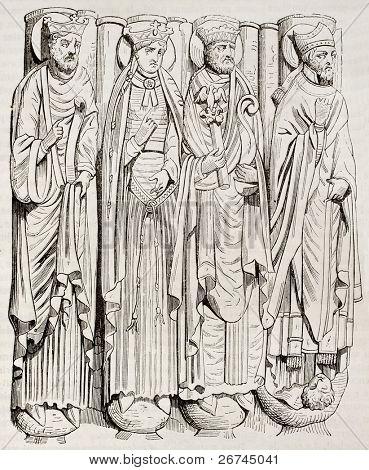 Statues of Saint-Germain-des-Pres abbey porch. By unidentified author, published on Magasin Pittoresque, Paris, 1843